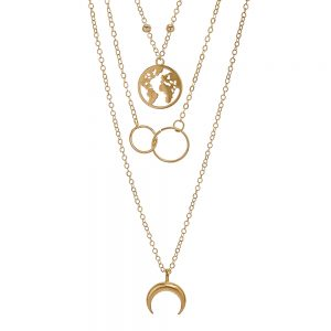 Angelus Collection -Boho Retro Multilayer, Earth, Ring, Moon Gold Necklace