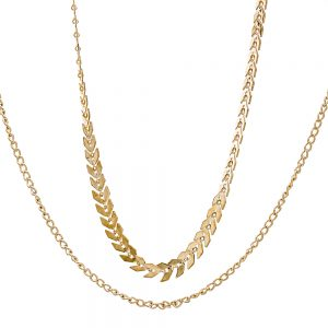 Beltaine Collection - Two layered Fishbone Flat Choker Gold
