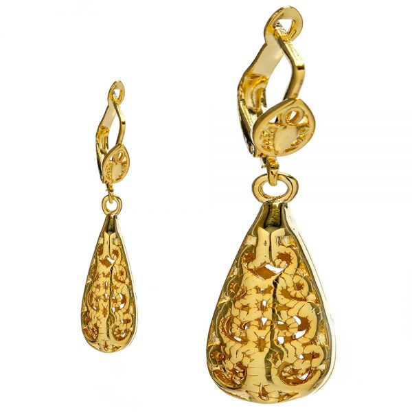 Beltaine Collection- Antique Filigree Drop Earring Gold
