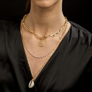 Seabrook Collection - 14K Gold Plated Fresh Water Pearl & Shell Coin Necklace