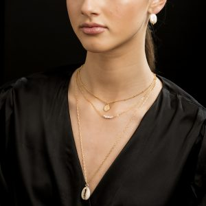 14K Gold Plated Multi Shell/Pearl Coin Necklace