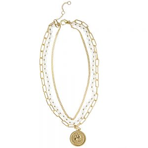 Oceane Collection - Ocean Blue Lucite & Matte Gold Coin Charm Necklace