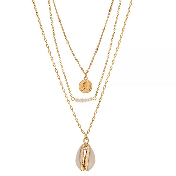Seabrook Collection - 14K Gold Plated Multi Shell/Pearl Coin Necklace