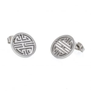 Odette Collection- Milano Medallion Stud Earrings Silver