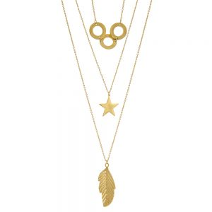 Boho Retro Multilayer Circle, Star, Leaf Silver Necklace Gold