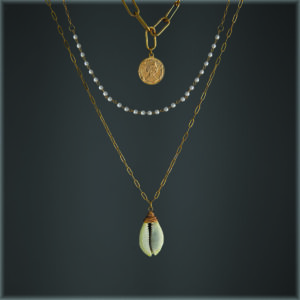 14K Gold Plated Fresh Water Pearl & Shell Coin Necklace