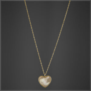 14K Gold Plated Mother Of Pearl Heart Necklace