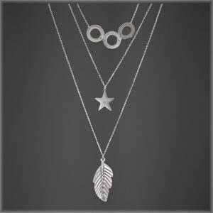 Boho Retro Circle,Star Leaf Necklace Silver