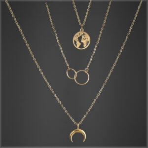 Boho Retro Multilayer Earth,Ring an Moon Gold Necklace