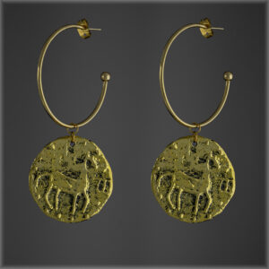 Large Hoop Horse Medallion Earrings