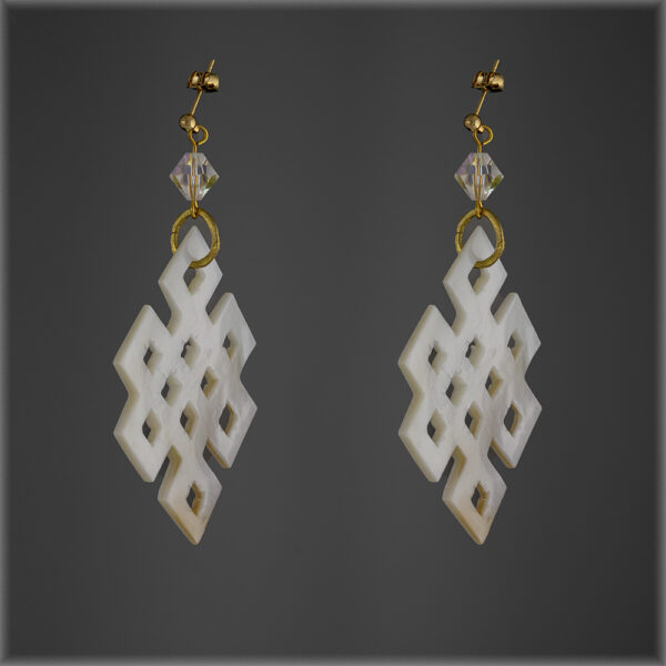 Natural Shell Mother of Pearl Swarovski Earrings